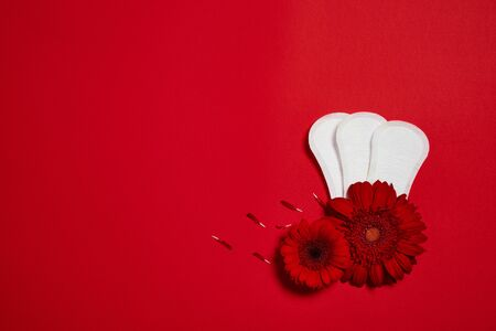 menstrual pads and red flower isolated on red background, top view. copy space