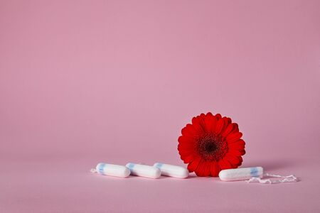 menstrual sanitary tampons and red flower on pink background. Feminine hygiene products. copy space.