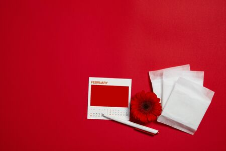 menstrual pads and red flower on red background, feminine calendar with copy space. Care of hygiene during menstruation. top view. mock up