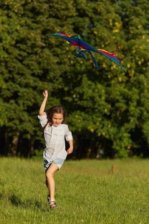happy cute little child girl launches kite in park in sunny day. summer time Stock Photo
