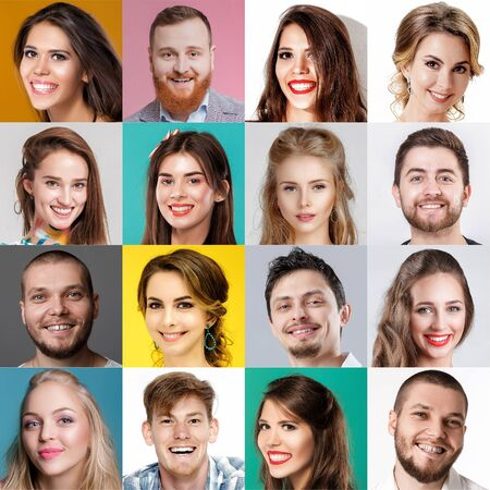 collage of happy faces of people. Happy men and women expressing different positive emotions.