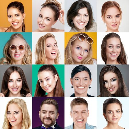 collage of happy smiling faces of people. Happy men and women expressing different positive emotions. Human emotions, facial expression concept.
