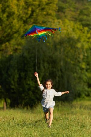 happy cute little child girl play with kite in park in sunny summer day.