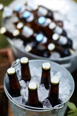 many beer bottles in the ice bucket Banco de Imagens