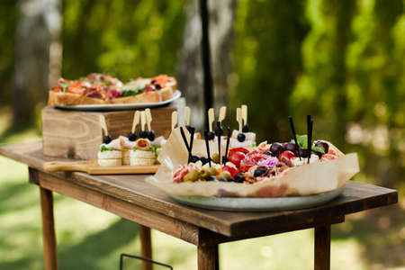 wooden buffet table with snack, appetizer and fruits decorated outdoor in summer day Banco de Imagens - 156075710
