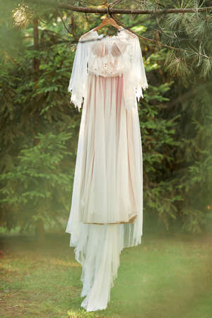 wedding dress hanging on tree in the forest. vintage or rustic Banco de Imagens