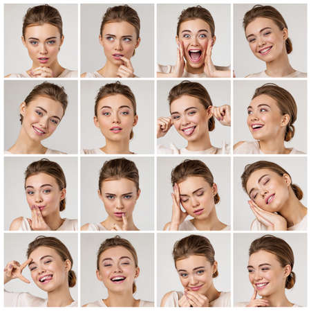 collage of portraits of young beautiful woman with different emotions and facial expressions on gray background