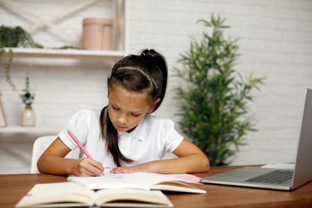 cute little child girl using computer for studying online e-learning system. online education concept Stok Fotoğraf