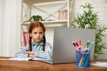 happy redhead little child girl using laptop for studying online learning system. online lesson at home Banco de Imagens