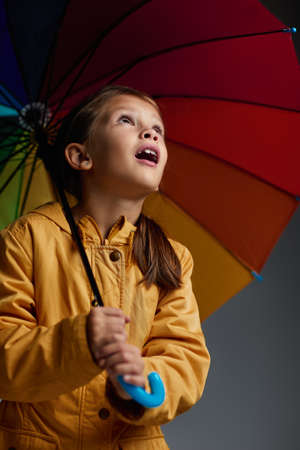 Cheerful child girl with multicolored umbrella in yellow rain coat looks up on gray background. Banco de Imagens