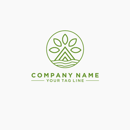 Eco house. Concept logo. Simple linear icon with thin outline.