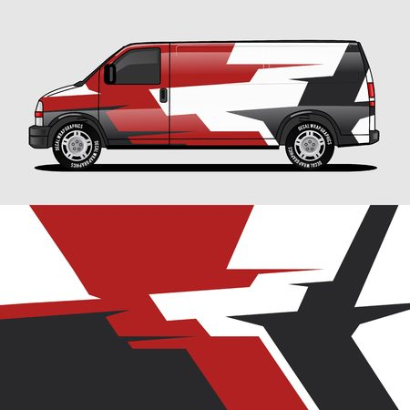red van wrap design wrapping sticker and decal design for corporate company branding vector 일러스트