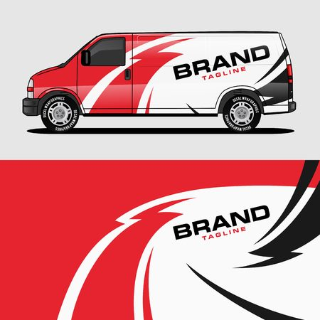 red van wrap design wrapping sticker and decal design for corporate company branding vector  イラスト・ベクター素材
