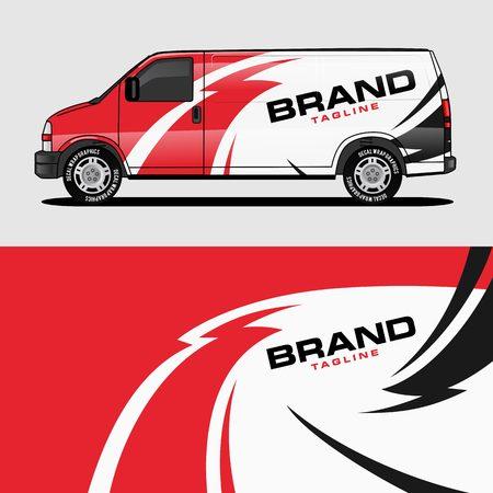 roter Van Wrap Design Wrapping Aufkleber und Abziehbild Design für den Branding-Vektor des Unternehmensunternehmens