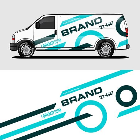 car livery light blue van wrap design wrapping sticker and decal design for corporate company branding vector