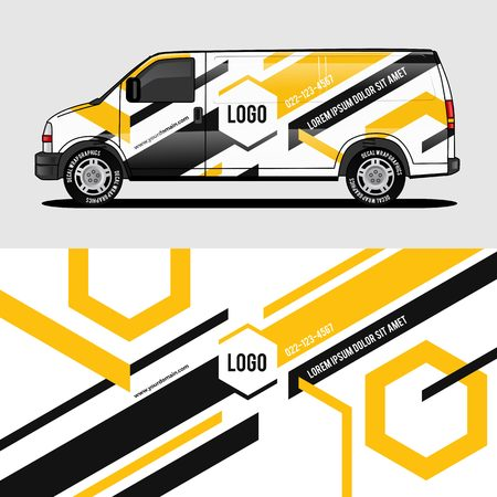 car livery yellow van wrap design wrapping sticker and decal design for corporate company branding vector Illustration