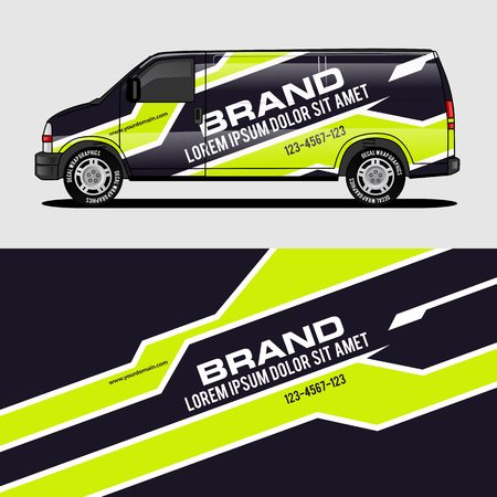 car livery lime green van wrap design wrapping sticker and decal design for corporate company branding vector Vector Illustration