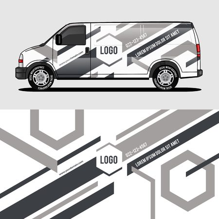 car livery grey van wrap design wrapping sticker and decal design for corporate company branding vector