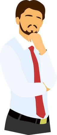 businessman thinking: Thinking businessman or worker vector