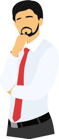 businessman thinking: Thinking businessman vector