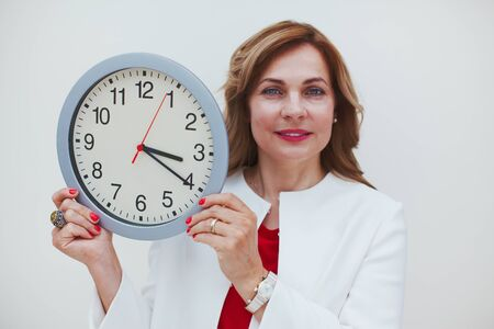 Woman with clock time management and biological time concept