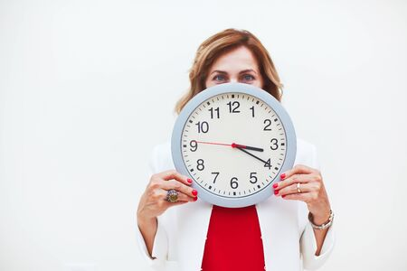 Woman with clock aging concept