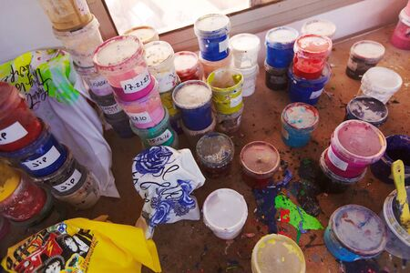 Equipment, stencils, paints and other for factory printing on cloth. 写真素材