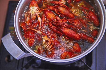 Crawfish cooking boiling in pot with spices Stock Photo