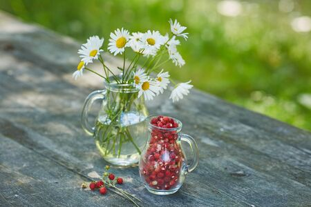 Charming still life with copy space strawberries and daisies
