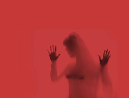 Woman hostage blurred abuse victim concept 版權商用圖片