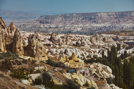 Views of Cappadocia volcanic kanyon cave houses in Turkey