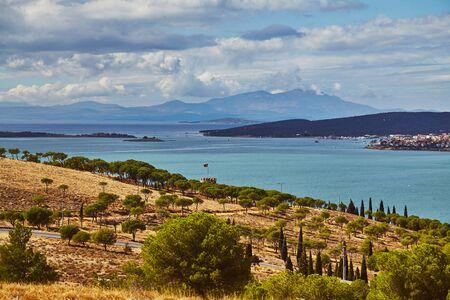 Views of Ayvalik town onCunda island at Aegean side of Turkey