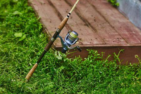 Spin fishing pole detail