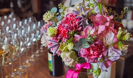 Mixed flowers bouquets on birthday celebration