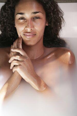 Portrait of female in bath  photo