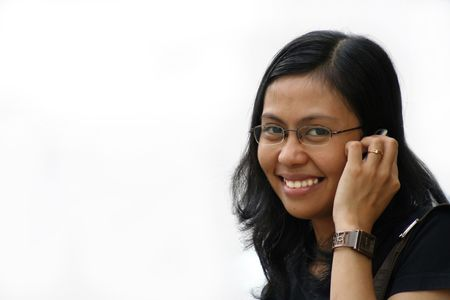 mobilephones: girl calling on mobilephone Stock Photo
