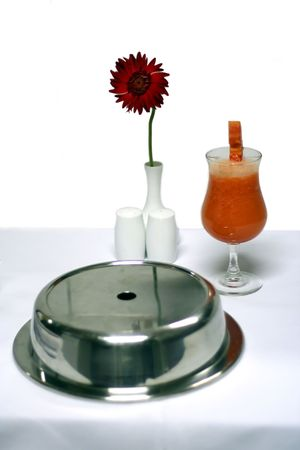 room service: juice on room service table