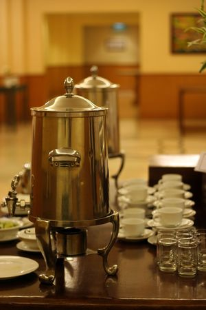 chafing dish: coffee container
