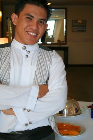 waiter in pose photo