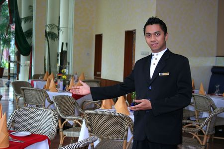 restaurant staff with welcome style photo