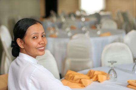 Banquet staff smiling at work