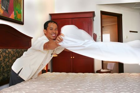hotel stay: houesekeeping in action Stock Photo