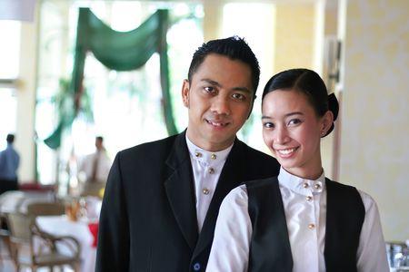 restaurant staff Stock Photo