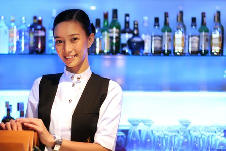 bar or pub staff Stock Photo
