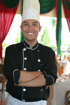 chef standing at restaurant photo