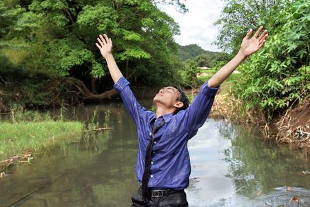business man find inspiration in nature