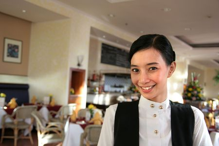 restaurant staff or waitress at work