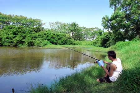 fishing, reading and relaxing hobby activity at weekend