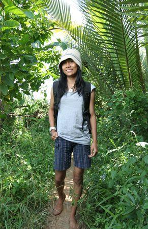 natur: girl in natur hiking Stock Photo