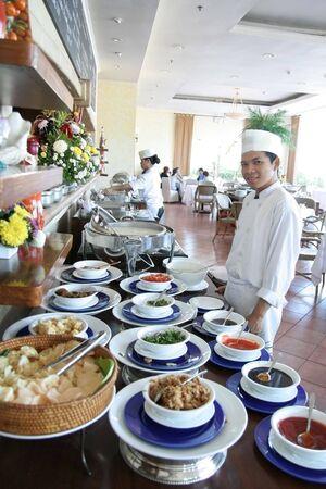 lunch buffet: chef at buffet restaurant